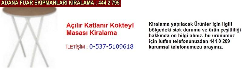 Adana açılır katlanır kokteyl masası kiralama firması iletişim ; 0 505 394 29 32