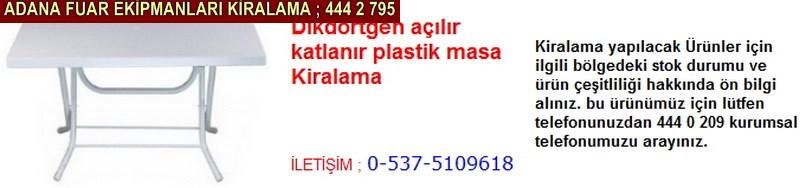 Adana dikdörtgen açılır katlanır plastik masa kiralama firması iletişim ; 0 505 394 29 32