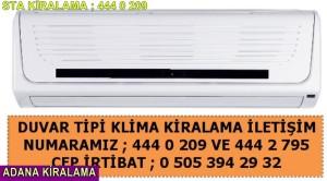 Adana kiralama duvar tipi klima fiyatı