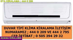 Adana sta kiralama duvar tipi klima fiyatı
